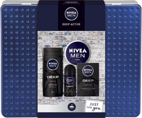 Nivea Men Deep Active sprchový gel 250 ml + voda po holení 100 ml + antiperspirant deodorant roll-on