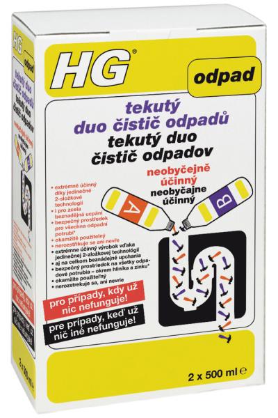 HG HG tekutý duo čistič odpadů 2 x 500 ml